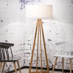 Bamboe witte vloerlamp van Good&Mojo
