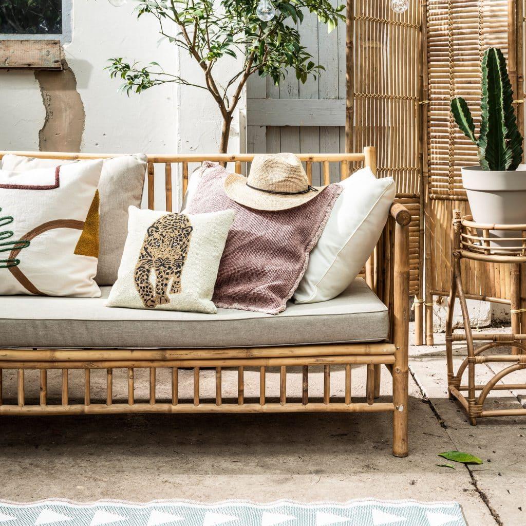 Bamboe loungebank met kussens