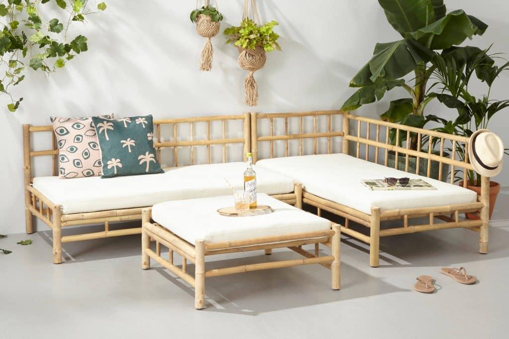 Bamboe loungeset van Wehkamp met hocker