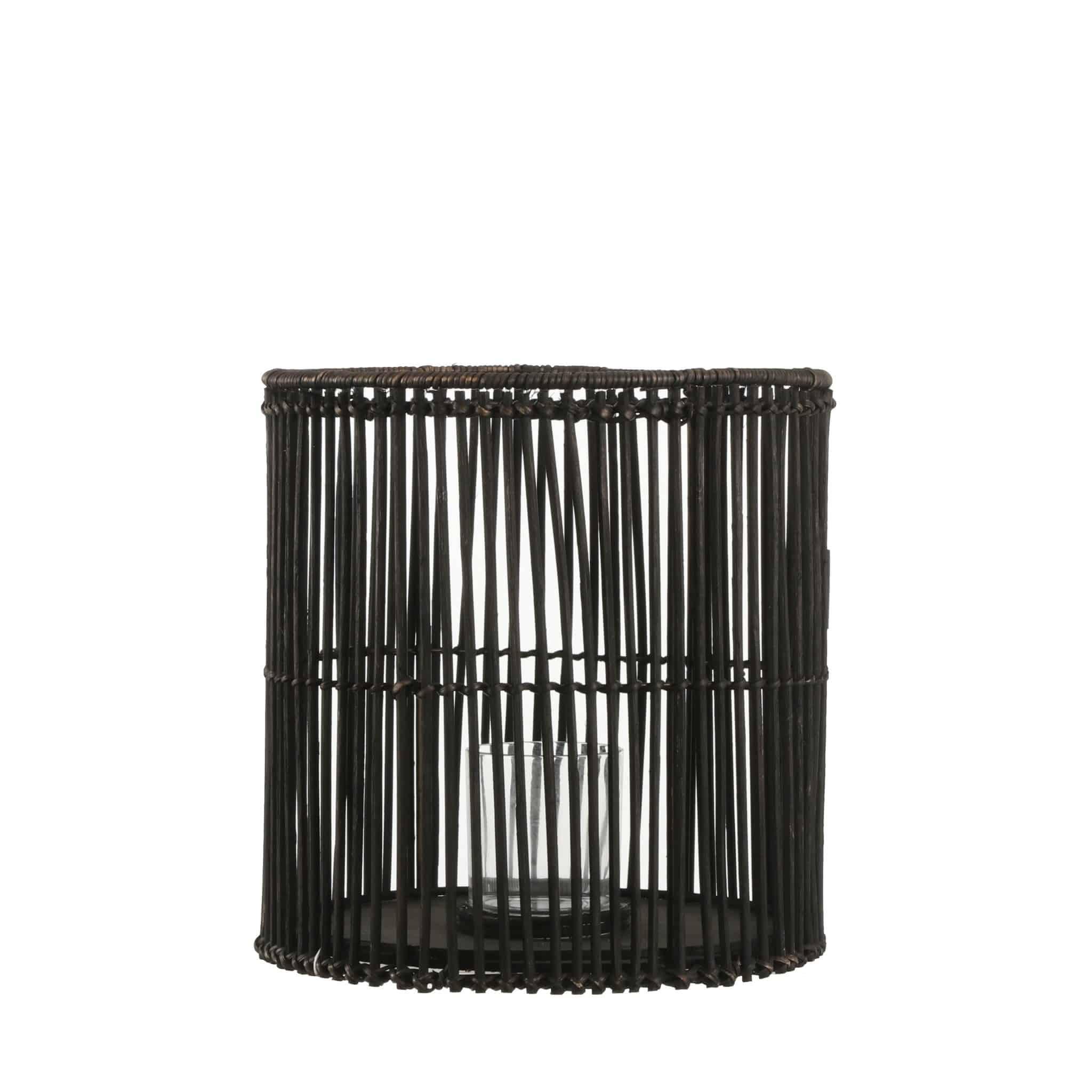 Zwart bamboe windlicht van Mica