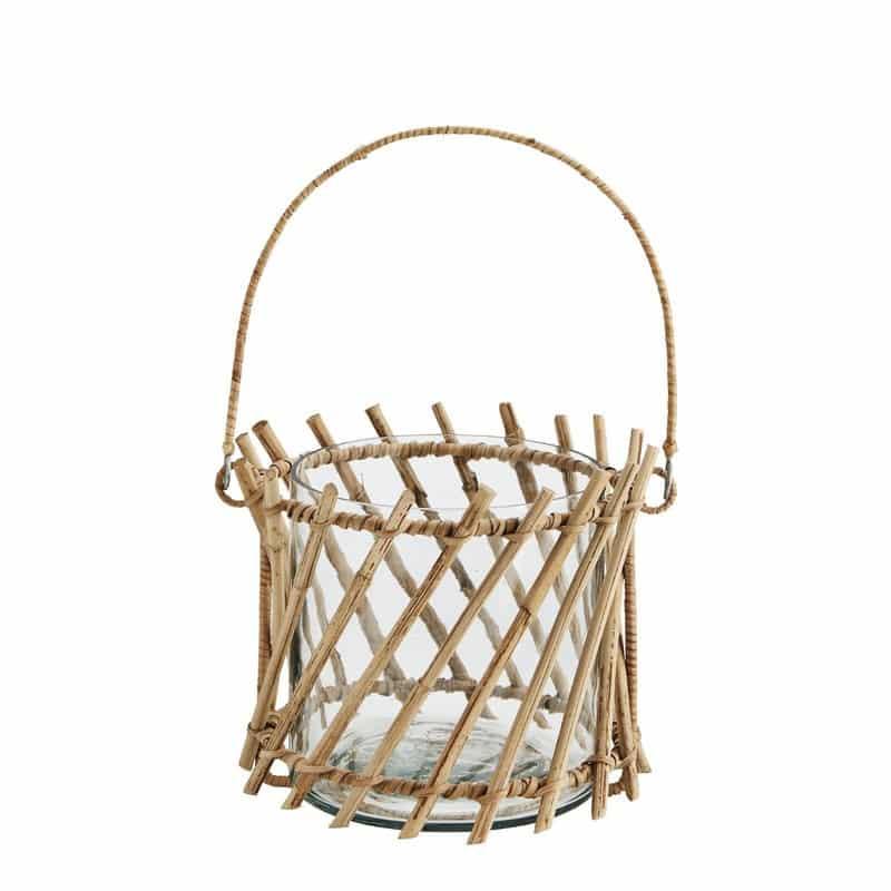 Bamboe windlicht in glazen pot