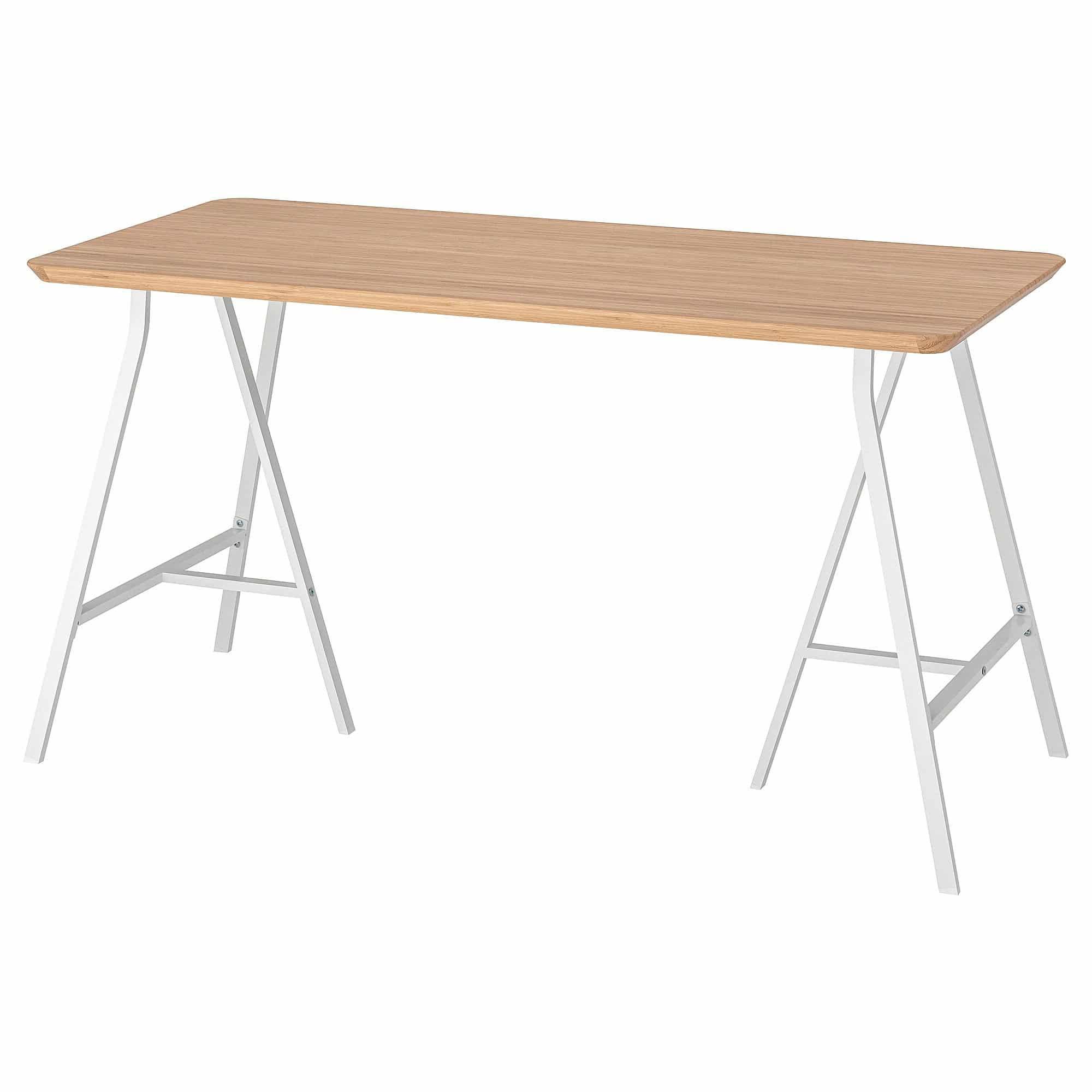 Hilver lerberg witte bamboe tafel van Ikea