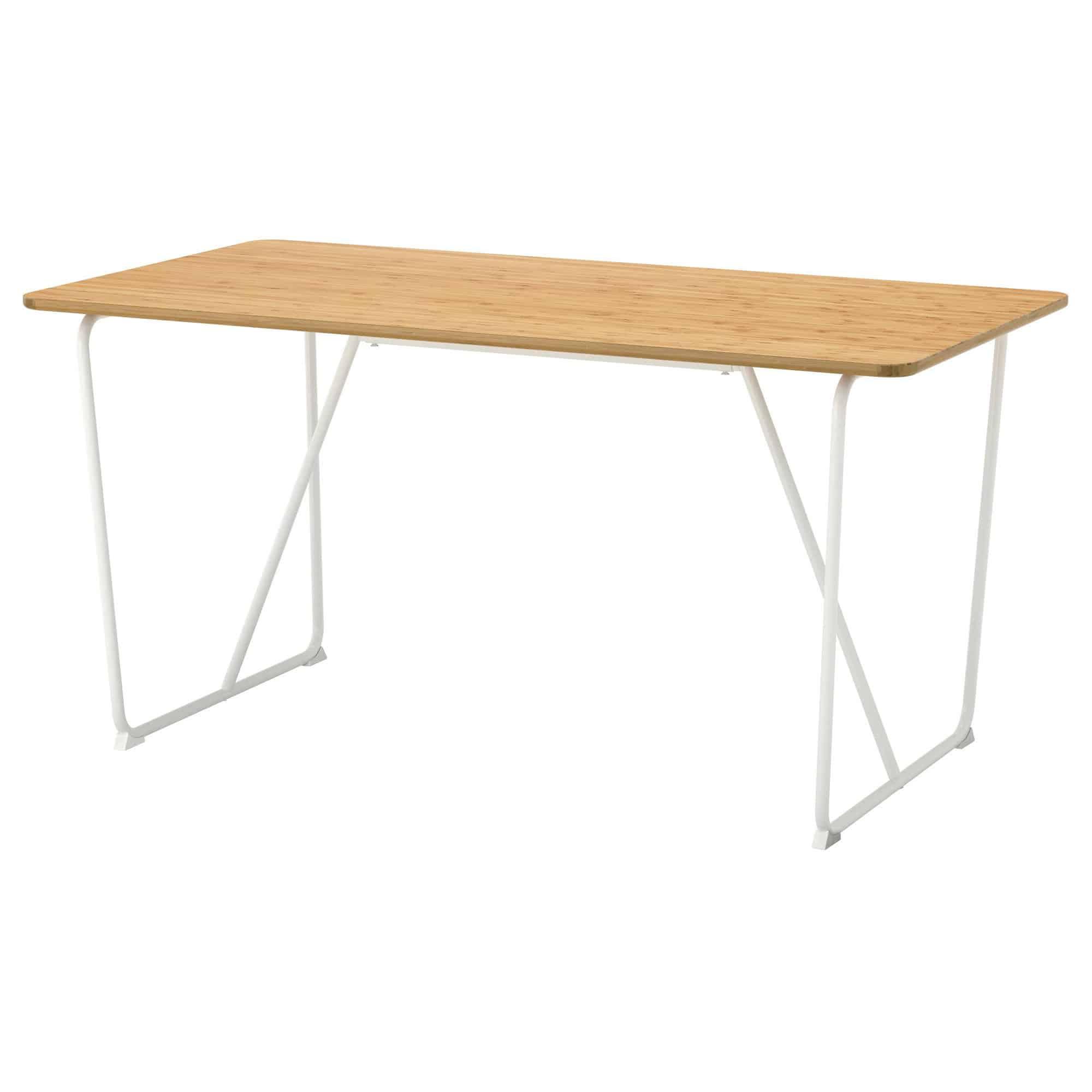 övraryd bamboe tafel wit van Ikea