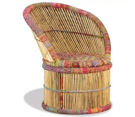 Bamboe stoel chindi van vidaxl