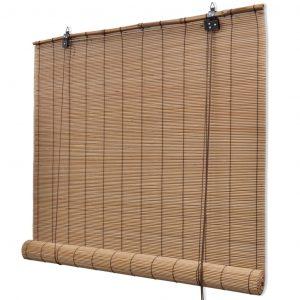 Bruin rolgordijn bamboe van vidaxl