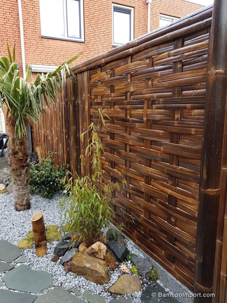 Gevlochten bamboe tuinscherm van bamboo import