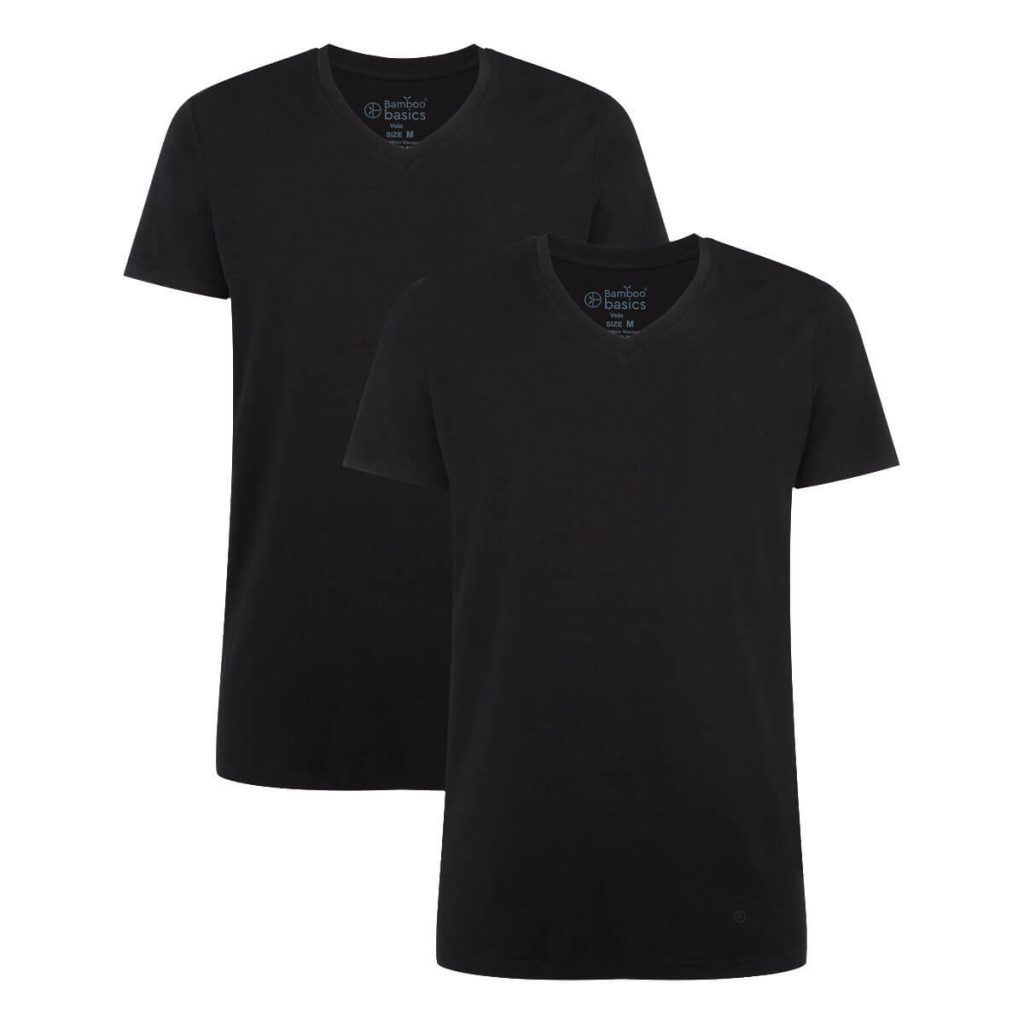Zwart bamboe t-shirt velo van bamboo basics