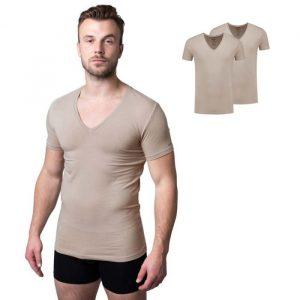 Bamboe t-shirt williams met diepe v-hals van Bamigo