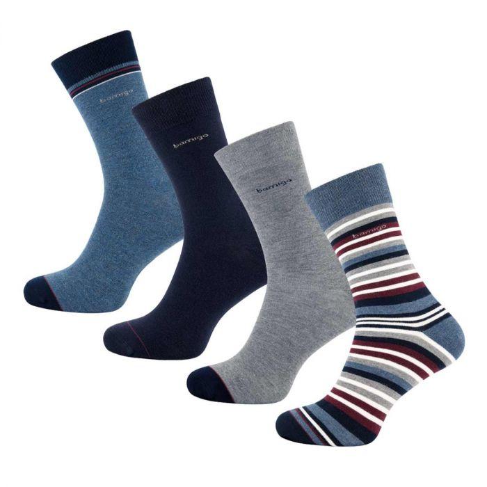 Bamboe sokken gestreept bordeaux van bamigo