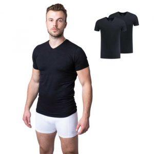 Zwart bamboe t-shirt met v-hals van Bamigo