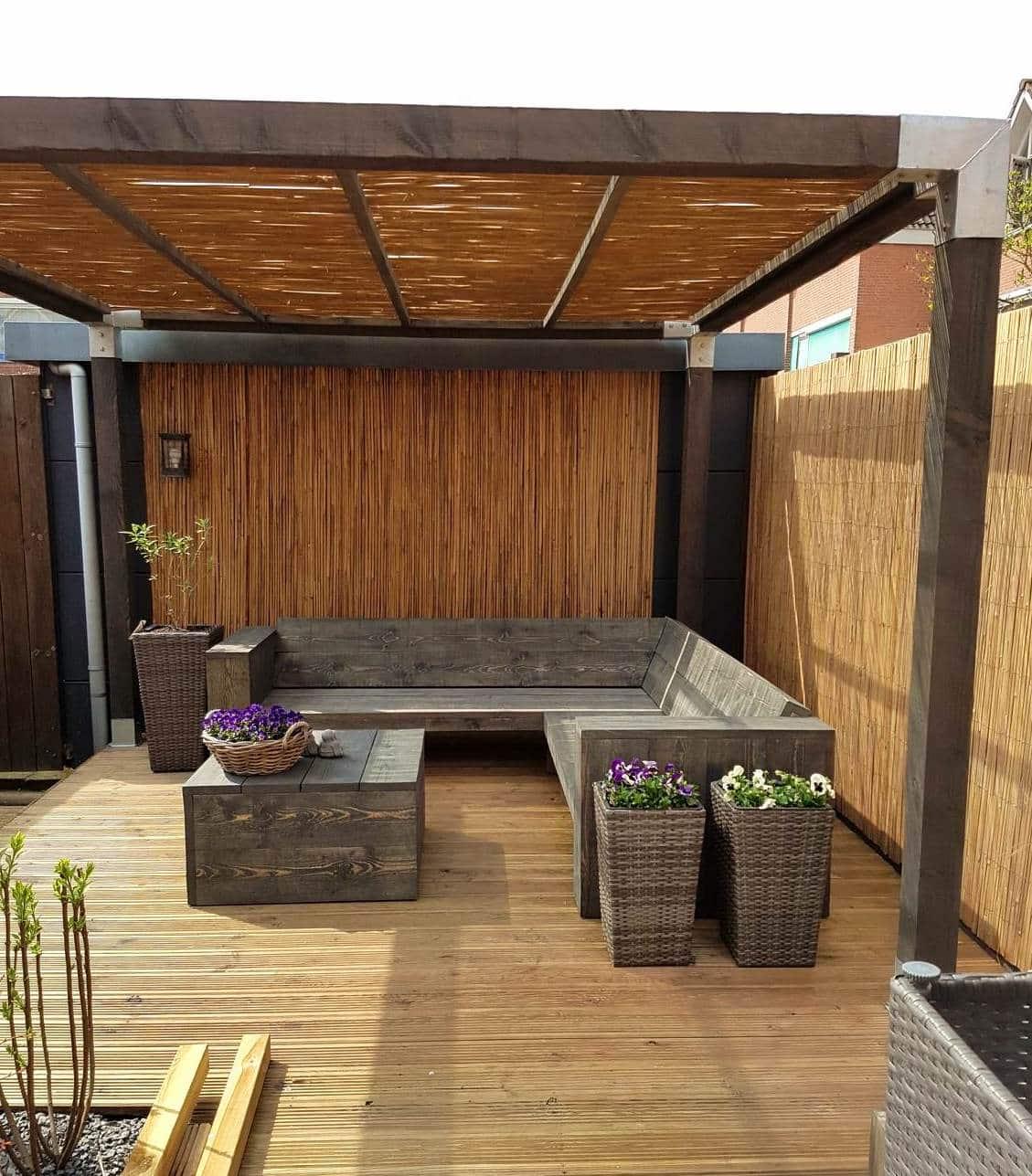 Gespleten bamboe matten op rol
