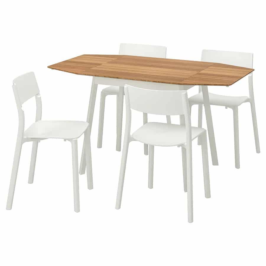 Bamboe tafel janinge met 4 stoelen van Ikea
