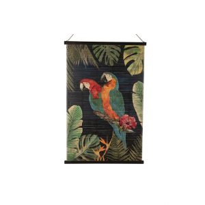Bamboe wanddecoratie papegaai