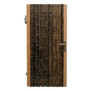 Zwarte bamboe poortdeur trendline 100x180 cm