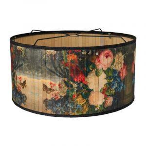 Bamboe hanglamp met bloemprint van de xenos