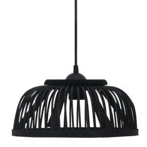 Halfronde bamboe hanglamp zwart van vidaxl