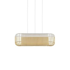 Bamboe hanglamp oval large wit van forestier