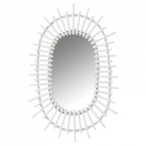 Witte bamboe spiegel zon ovaal van J-line