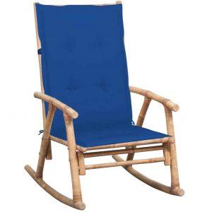 Bamboe schommelstoel met blauw kussen van vidaxl