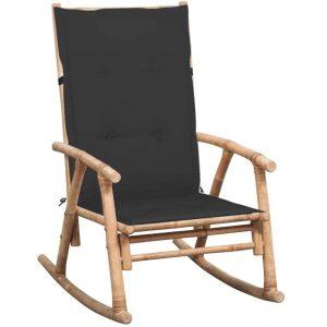 Bamboe schommelstoel met antraciet kussen van vidaxl
