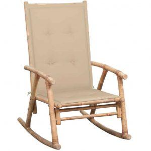 Bamboe schommelstoel met beige kussen van vidaxl