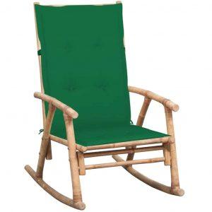 Bamboe schommelstoel met groen kussen van vidaxl
