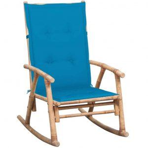 Bamboe schommelstoel met lichtblauw kussen van vidaxl