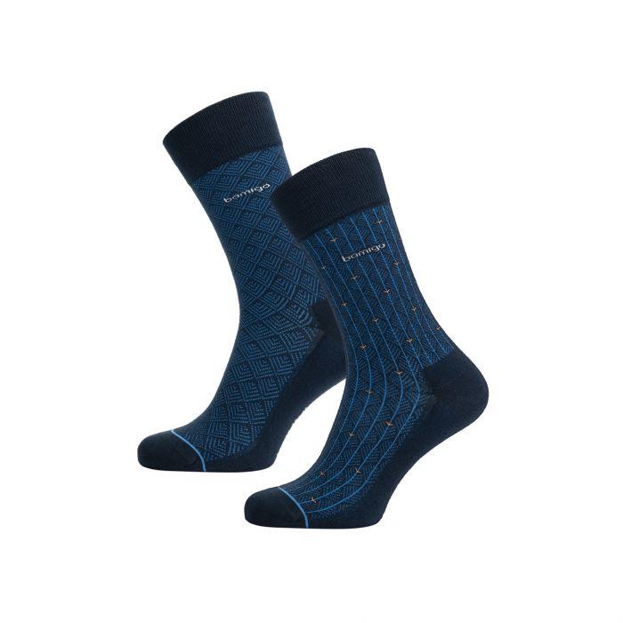 davy-business-sokken-italiaans-jacquardpatroon-blauw-2-pack