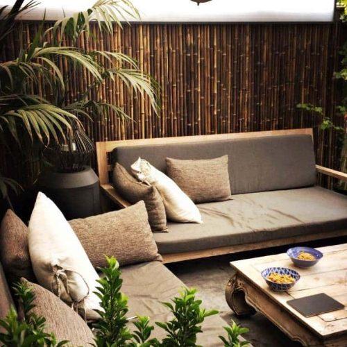 Zwarte bamboe matten op rol